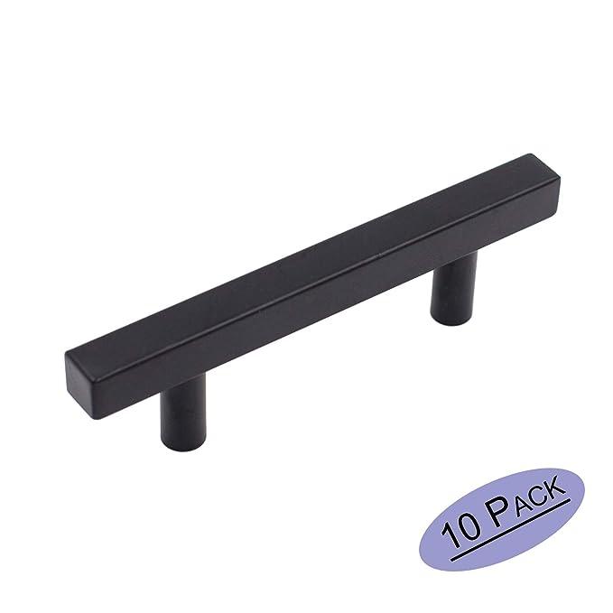 goldenwarm 10Pack Flat Black Cabinet Pulls Kitchen Hardware Black Drawer Pulls LSJ22BK76 Square T Bar Cupboard Door Handles 3 Inch Hole Spacing Bathroom Dresser Furniture Pulls Matte Black