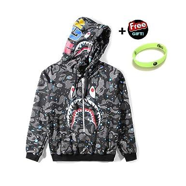 3519e7fe Amazon.com: Noctilucan Fashion Sweatshirt Shark Zip Hoodie Sweatshirt Mens  Hoodies Sweatshirt Fashion Casual Coat Outdoor Hip-Hop Funny Tops(Greystar,  ...