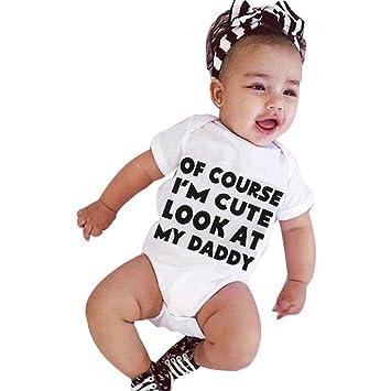 gbsell recién nacido bebé Niños Niñas Bebé Pelele de carta impresión ropa trajes, Blanco: Amazon.es: Deportes y aire libre
