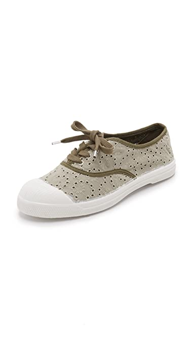 Baskets Bensimon Tennis Broderie Anglaise Kaki Clair