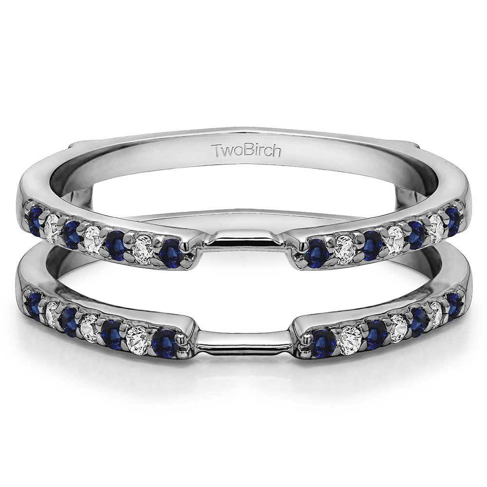 Silver Delicate Traditional Style Ring Enhancer with Diamonds and Sapphire (0.28 ct. twt.)