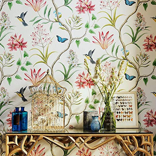 Blooming Wall Vintage Fresh Floral Birds Wallpaper Wallpaper Wall Mural for Livingroom Bedroom Kitchen Bathroom, 20.8 In32.8 Ft=57 Sq.ft,Multicolor (99302)