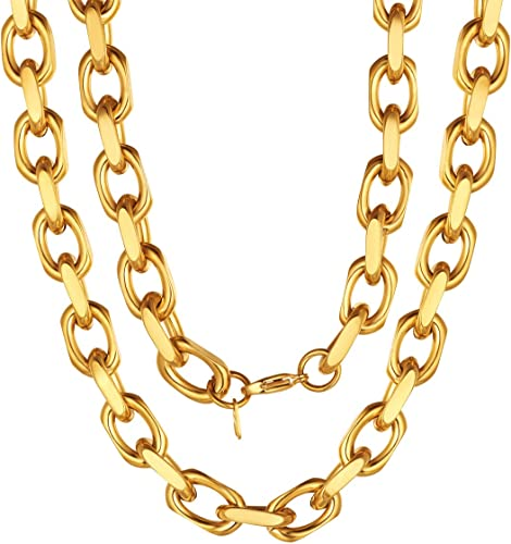 Thick 18k Gold Link Chain Necklace,Toggle Clasp Chain Necklace,Multi-strand Choker,Chunky Chain Necklace,Thick Chain,Link Chain Choker