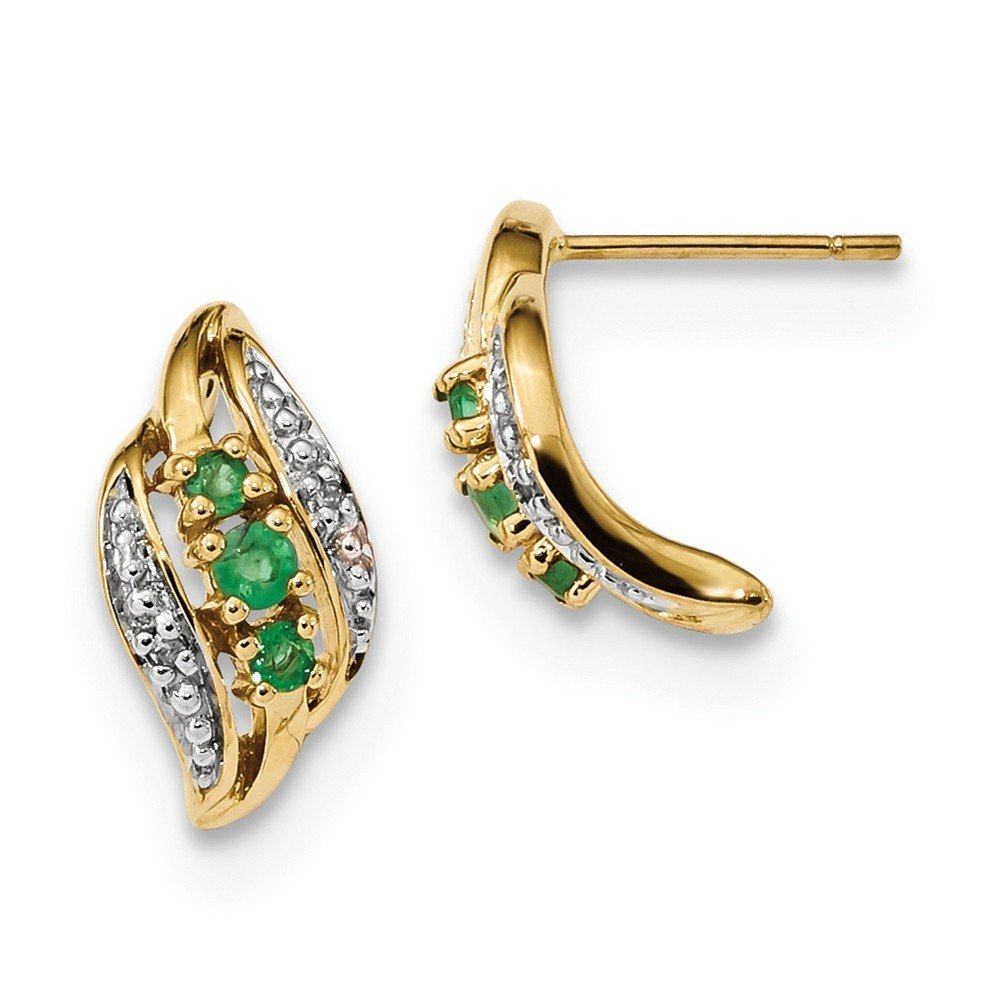 7.54mm 14k Gold With Emerald and Diamond Polished Post Earrings