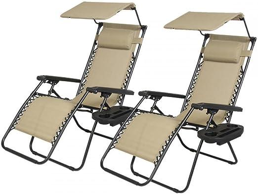 : 2 PCS Zero Gravity Chair Lounge Patio Chairs