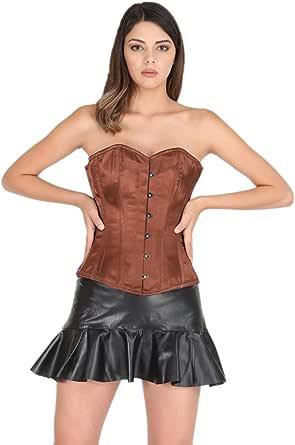 Brown Satin Corset Gothic Burlesque Costume for Halloween 2019 Bustier Overbust