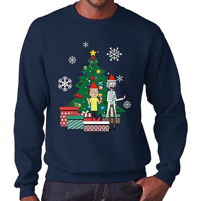 Rick And Morty Around The Christmas Tree Mens Sweatshirt