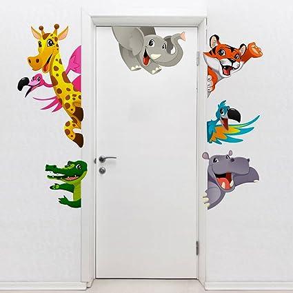 Rawpockets Cartoon Kids Animals Wall Sticker (PVC Vinyl, 120 cm x 100cm), Multicolour