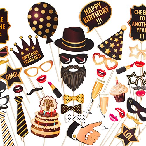ZEZAZU Happy Birthday Party Photo Booth Props Funny DIY Kit 44 Pieces - Made in Europe - Luxury Edition with Real Glitter ()