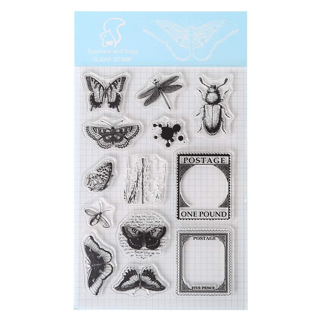 Yevison Clear Silicone Stamp Sheet Printing Scrapbooking Embossing Stamper Transparent Cling Seal for DIY Scrapbook Photo Albums Paper Notebook Card Making Arts Crafts Supplies Insects & Postage Stamp Durable and Useful