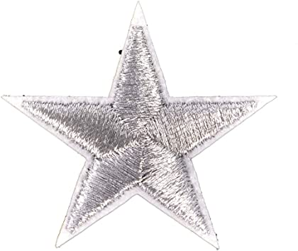 10PCs Silver Stars Embroidered Badges Iron On Patches Motif Applique Stickers SZ