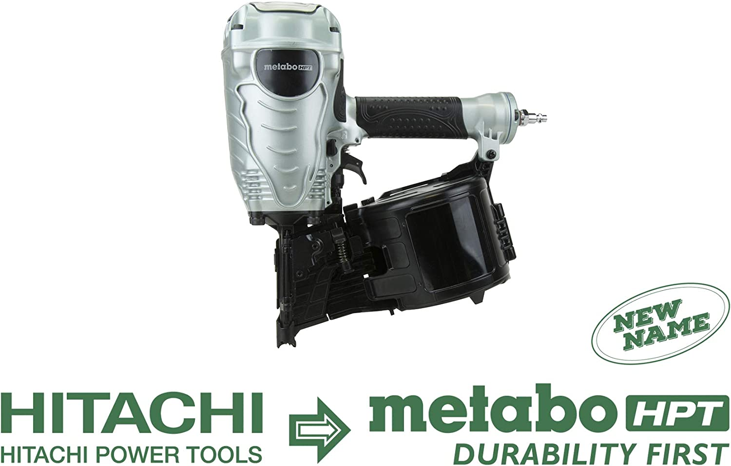 Metabo HPT NV90AGS Pneumatic Coil Framing Nailer, 1-3 4-Inch up to 3-1 2-Inch Wire Collated Coil Framing Nails, Tool-less Depth Adjustment, Convenient Side Load, Tilt Bottom Magazine, 5-Year Warranty