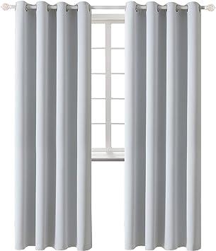 BGment Rideaux Occultants Isolant Thermiques Rideau de Fen/être Uni Opaque /à Oeillets pour Chambre et Salon 2 Panneaux L 117 x H 137 cm Orange