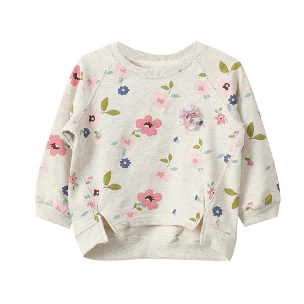 LOSORN ZPY Toddler Baby Girl Sweater Cotton Kids Long Sleeve Flower Pullover Top 100
