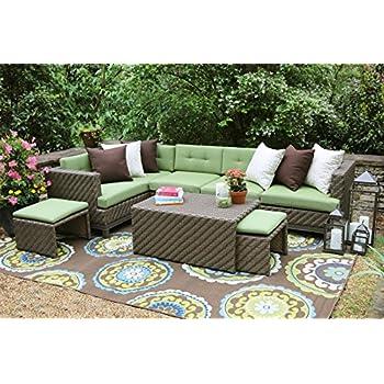 AE Outdoor Hampton 8 Piece Sectional With Sunbrella Fabric