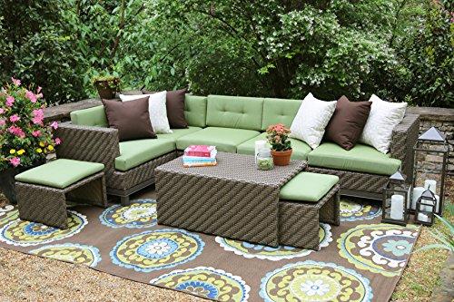 AE Outdoor Hampton 8 Piece Sectional with Sunbrella Fabric (Patio Furniture Sunbrella Fabric)
