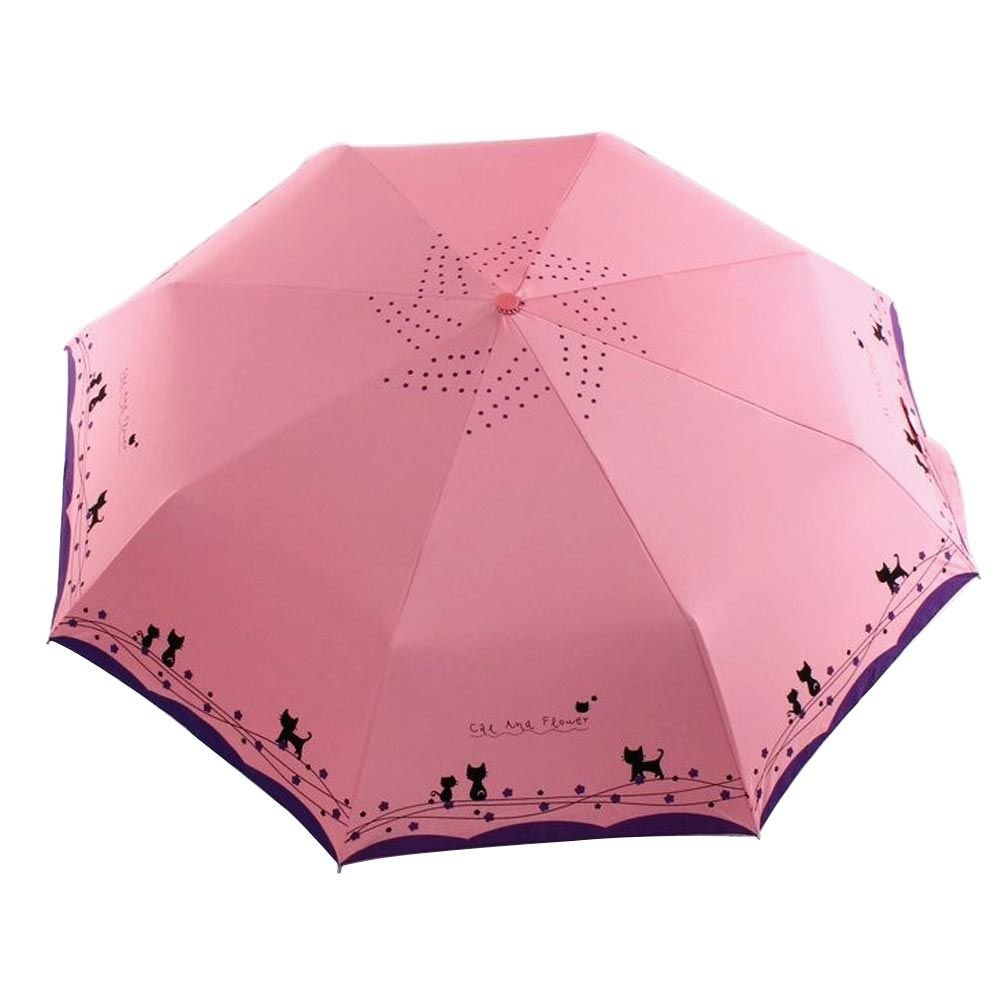 Amazon.com : VANKER Cute Cat Automatic Open/Close Anti-Rain Sun Proof UV-Protection Folding Umbrella Light Pink : Sports & Outdoors