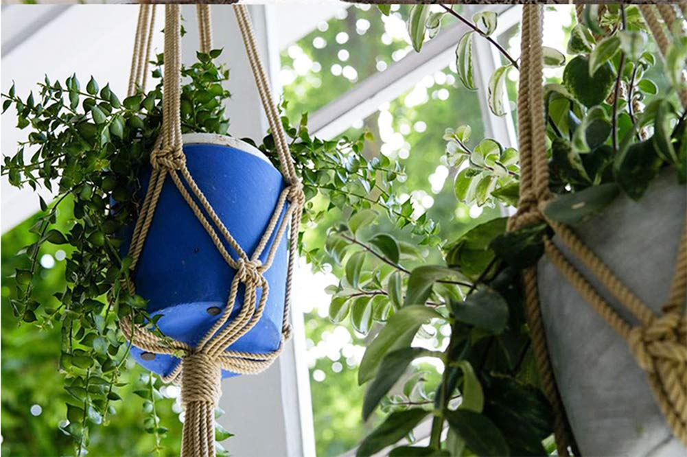 LAAT 2PC Creative Plant Hanger Natural Jute Hemp Macrame Rope Flower Pot Plant Hanging Basket Holder with Key Ring Home Decoration for Indoor Outdoor Balcony Ceiling Supplies Size 2018cm