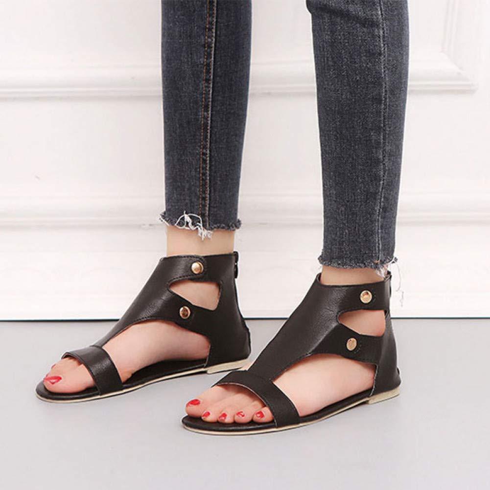 Schwarz Schwarz rot LIU Frauen Sandalen Mode Schuhe Frau Sommer Flachen Sandalen Bou ;hmischen Damen Sandalen Casual Frauen Schuhe  bevorzugt
