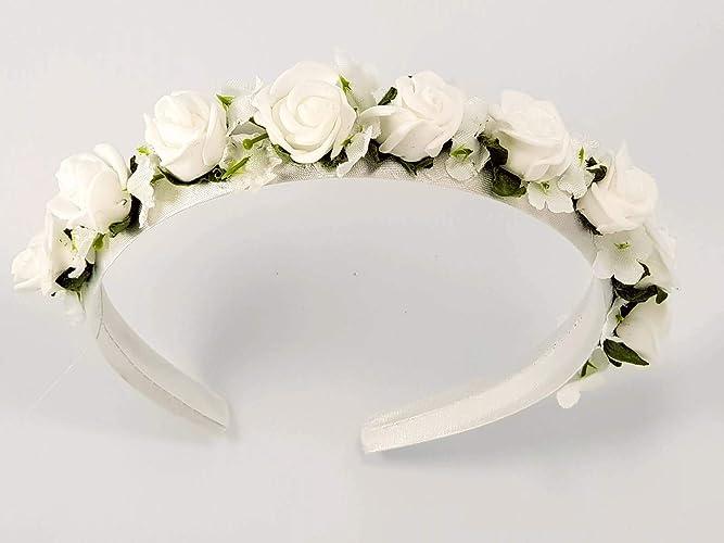 Coroncina di fiori-cerchietto per Prima Comunione-Damigella  Amazon ... 2a29a327bb74