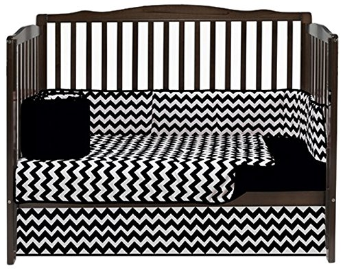 Baby Doll Bedding Chevron 4 Piece Crib Bedding Set, Black by BabyDoll Bedding   B00LIVK9FQ