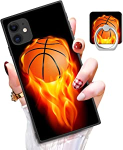 Square iPhone 11 Case with Kickstand Ring Holder, Shockproof Sturdy TPU + PC Rubber Silicone Black Phone Case Cover Protective for iPhone 11 (Basketball)