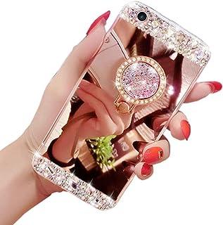Glitzer Spiegel Hülle für Huawei Honor 9 Lite, Obesky Luxus Diamant Strass Handyhülle Ultra Dünn Plating TPU Silikon Schutzhülle Anti-Scratch für Huawei Honor 9 Lite, Silber