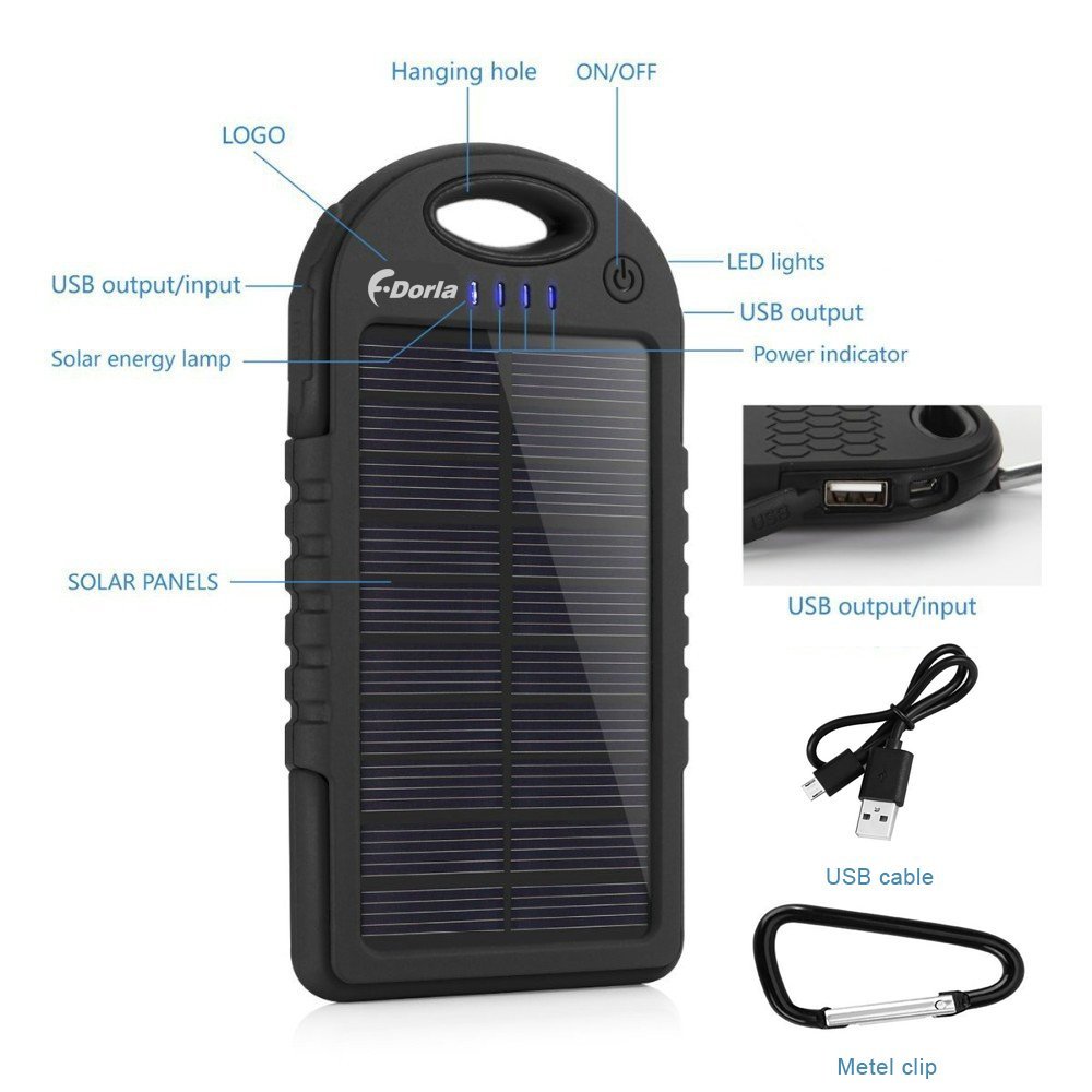 Amazon.com: Solar Charger, 5000mAh Solar Power Bank Portable Dual USB Solar  Phone Charger, Waterproof/Shockproof/Dustproof External Battery Pack for  Cell ...