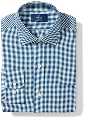 Buttoned Down Men's Classic Fit Spread Collar Pattern, Green/Blue Check, 18