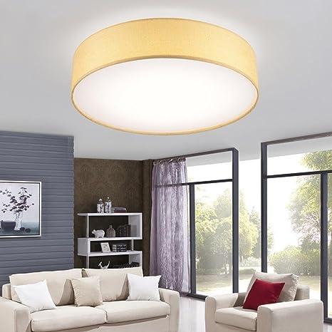 Moderno LED Lámpara de techo Redondo Tela Amarillo Sombra ...
