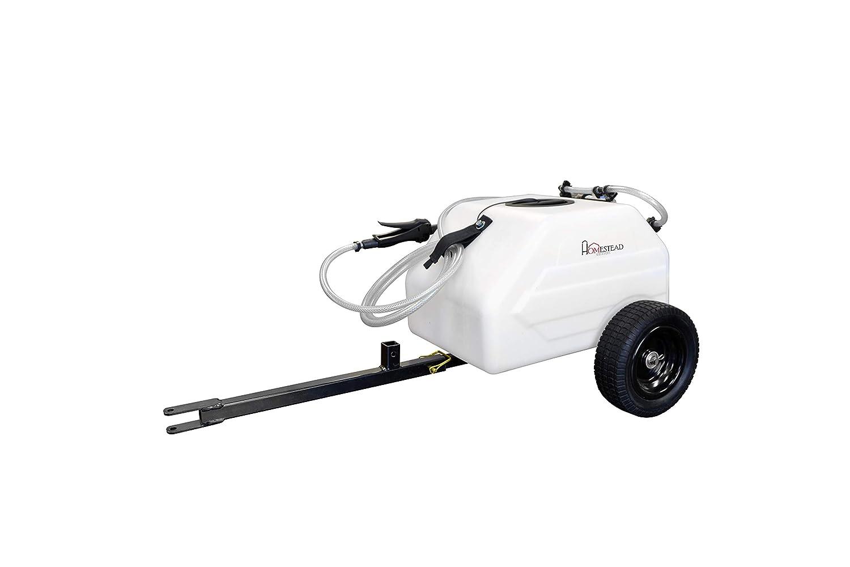 Homestead SL6-46-012Q-HST 12 Gallon Pull & Tow Boom Broadcast Trailer Sprayer – Everflo 1.1GPM, White