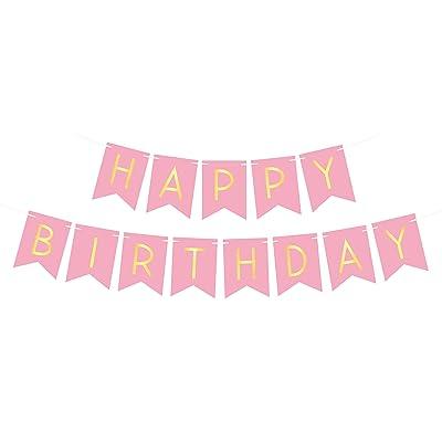 """""""Happy Birthday"""" Banderole ou guirlande joyeux anniversaire rose et jaune clair pastel coloré - Décoration ou accessoire pour soirée ou fête surprise entre filles famille"""