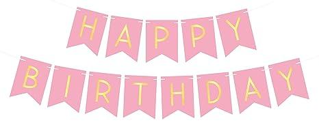Sterling James Co Happy Birthday Banderole Ou Guirlande Joyeux Anniversaire Rose Et Jaune Clair Pastel Coloré Décoration Ou Accessoire Pour