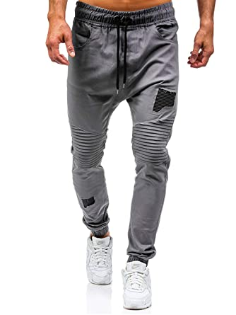 2f141cba87814 ShallGood Homme Casual Jogging Chino Pantalons Sport Slim Fit Pants Gris  X-Small