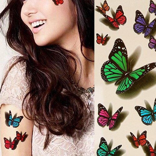 Holrea 1Sheet 3D Temporary Colorful Butterfly Tattoo Sticker Fake Tatoo Body Art Removable Waterproof Temporary Tattoos for Men Women M ()