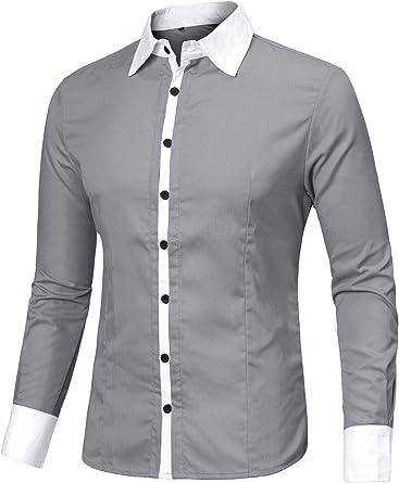 Allegra K Camisa para Hombres Color De Contraste Mangas Largas Ajuste Delgado Botón Arriba - Gris/S (US 36, EU 46): Amazon.es: Ropa y accesorios