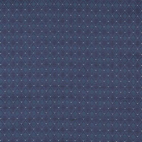 Baltic Blue Geometric Diamond Damask Upholstery Fabric by the yard