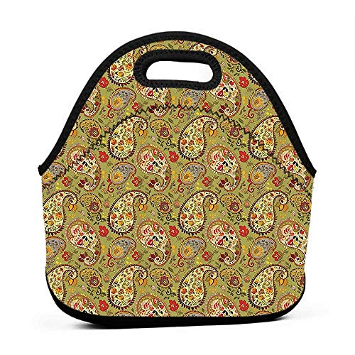 - Tote Waterproof Outdoor Paisley Decor,Eastern and Persian Oriental Style Tulip Floral Textile Pattern,Green Red Cream and Paprika,lunch bag large for women