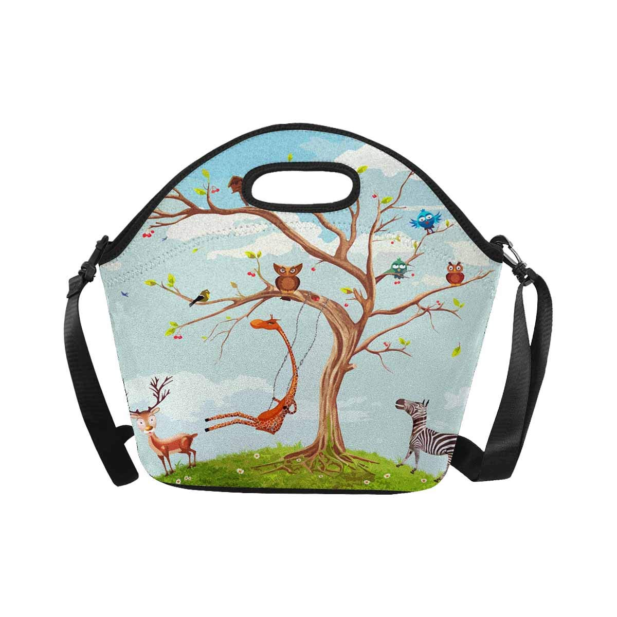 InterestPrint Neoprene Lunch Tote Bag Cute Animals Tree Reusable Lunchbox with Shoulder Strap