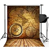 Kooer 5x7ft Old The World Map Style Photography Backdrops Vintage Compass & Map Wall Photography Backgrounds Photo Studio Prop Baby Children Family Photoshoot Backdrop Customized Various Size