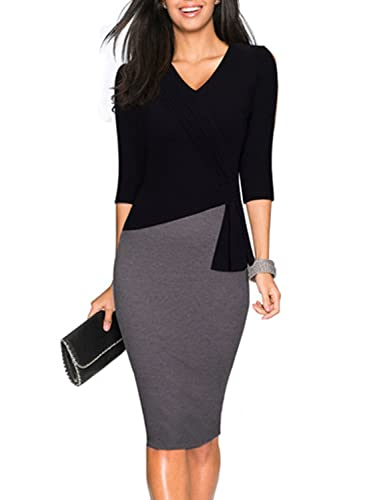 SYLVIEY Womens Elegant Ruffles Wear to Work Business Vintage Pencil Dress