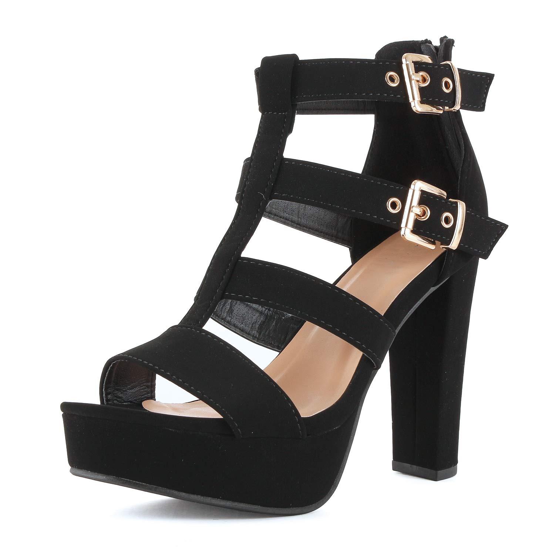 53442572253 Guilty Shoes Womens Cutout Gladiator Ankle Strap Platform Fashion High Heel  Stiletto Sandals Heeled Sandals, Blackv6 Pu, 6.5 B(M) US