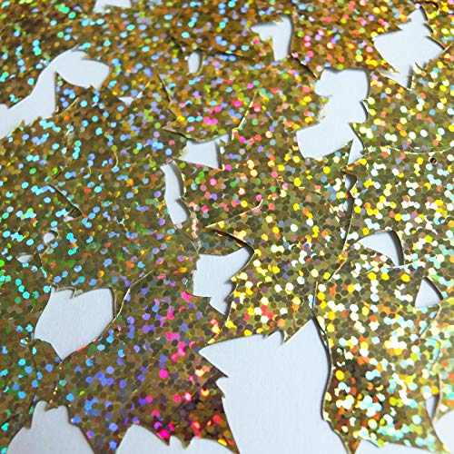 Craft Sequins Selection - Sequin Maple Leaf 1 25'' Gold Hologram Glitter Sparkle Metallic - Easily Sewn on Any Fabric