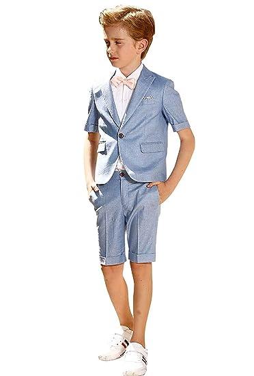 1dfaeb455d168 Amazon.com: Boys 2 Pieces Formal Suits Summer Beach Wedding Slim Fit ...