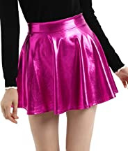 Kate Kasin Women's Casual Fashion A-Line Shiny Metallic Skirt