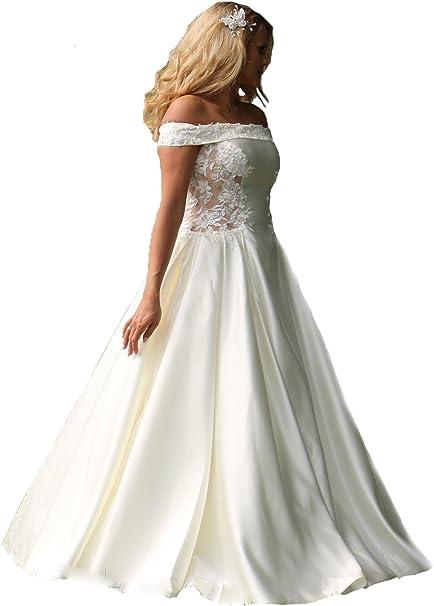 Unbekannt Brautkleid Hochzeitskleid Neu Braut Satin Brautkleider Massanfertigung Satinkleid Kleid Hochzeit Weiss Ivory Nach Mass Amazon De Bekleidung