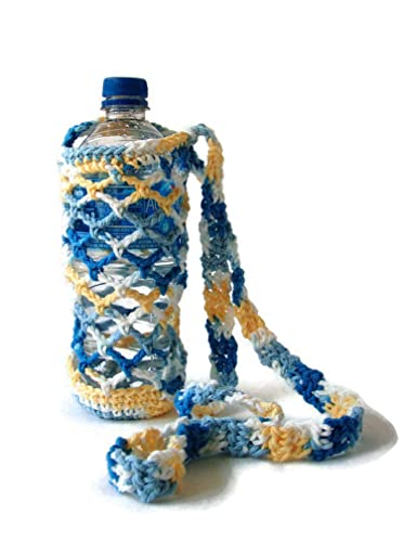 Yellow Handmade Crochet Water Bottle Carrier  Water Bottle Holder