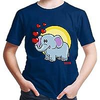 Hariz - Camiseta para niño con diseño de elefante y corazones, incluye tarjeta de regalo