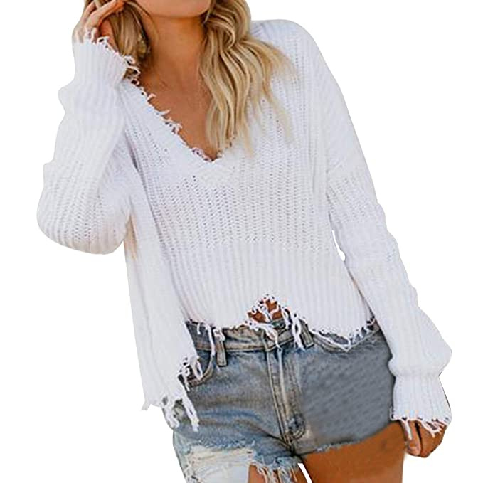 Limsea 2018 Women V-Neck Solid Long Sleeve Knitted Pullover Loose Sweater  Jumper Short Tops d851b1859