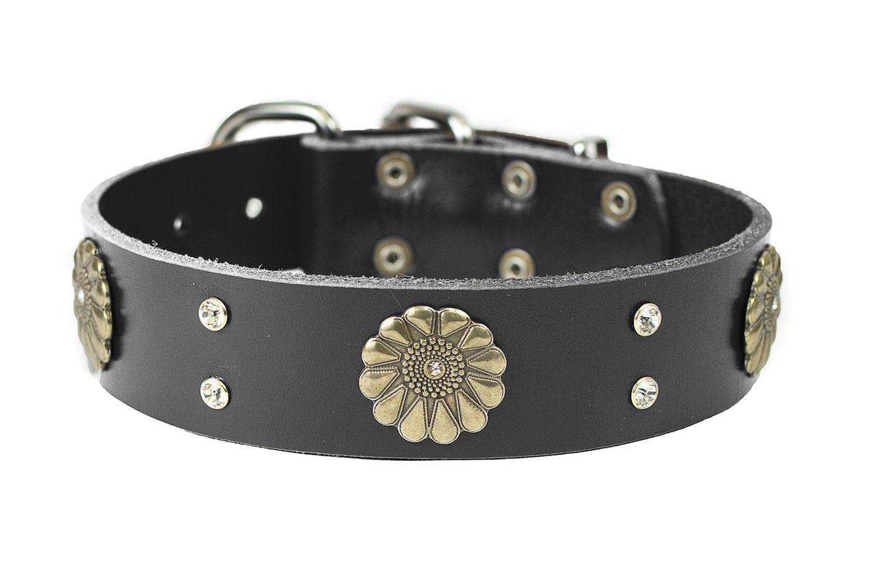 Dean and Tyler  FLEUR  Dog Collar With Nickel Buckle Black Size 46cm By 4cm Width. Fits neck size 16 Inches to 20 Inches.